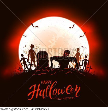 Scary Zombies On Cemetery. Black And Red Night With Dead Man, Monsters And Bats On Moon Background.