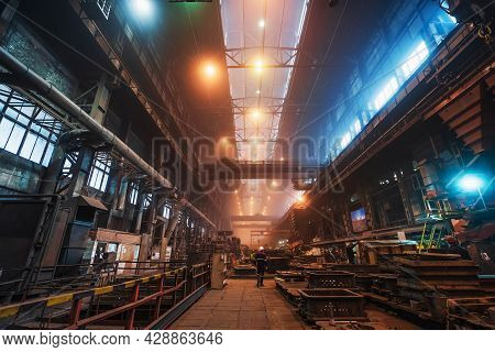 Metallurgical Plant Production. Factory Workshop Industrial Interior. Heavy Industry Equipment And M
