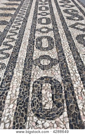 Nice geometric decorative stone pavement traditional from Portugal poster