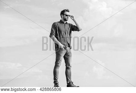 Handsome Fashion Model. Businessman In Glasses. Confidence And Charisma. Macho Man Unshaven Face. Se