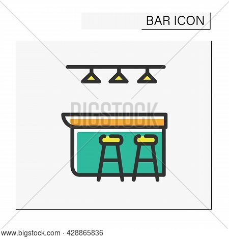 Bar Counter Color Icon. Pub, Diner, Coffee Shop, Restaurant Interior, Furniture. Cocktail Party And