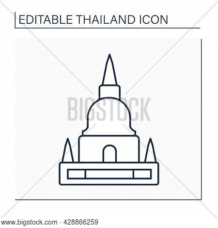 Pagoda Line Icon. Buddhist Building. Buddhist Stupas For Storing Sacred Relics Or Memorial Complexes