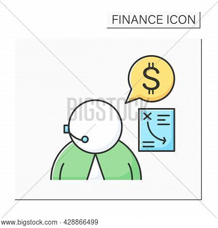 Financial Advisor Color Icon. Personal Finances Consultant Wearing Headset. Concept Of Tax Reduction