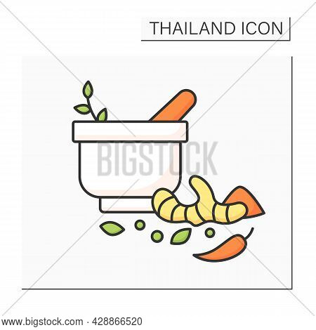Herbs And Color Icon.flavoring And Aromatic Substances Used To Prepare Dishes. Chili Peppers, Ginger