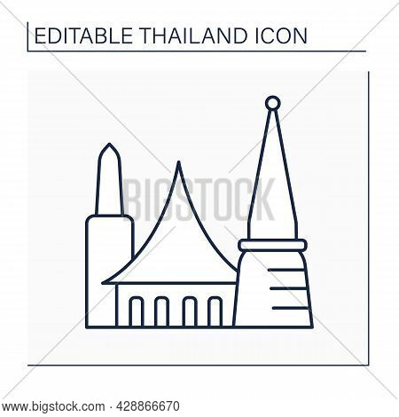 Bangkok Line Icon. Capital Of Thailand. Economy, Financial And Cultural Center. Traditional City Bui