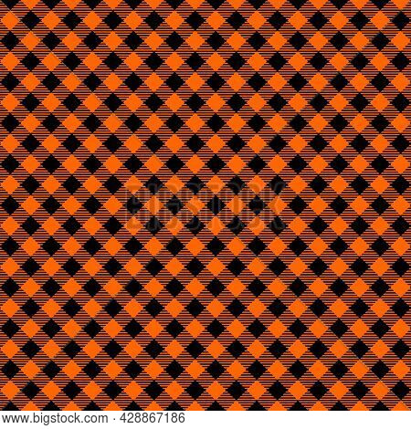 Halloween Or Thanksgiving Day Seamless Pattern. Diagonal Black And Orange Striped Gingham Plaid Text