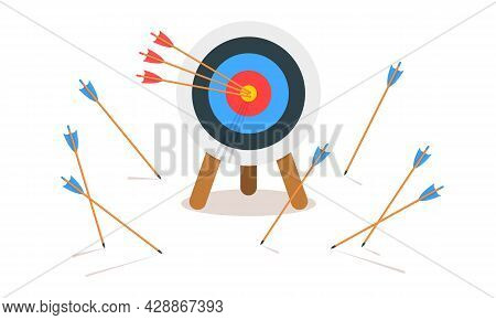 Archery Target Ring With Three Hitting Bullseye And Many Missed Arrows. Goal Achieving Idea. Busines