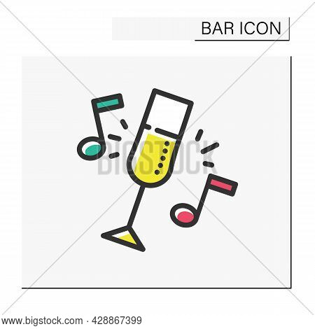 Bar Party Color Icon. Celebration, Event, Alcohol Party. Champagne Or Wine Glass. Restaurant, Night