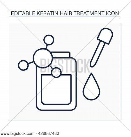Keratin Serum Line Icon. Hair Treatment. Reduce Frizz And Add Shine To Hair.moisturizing And Strengt