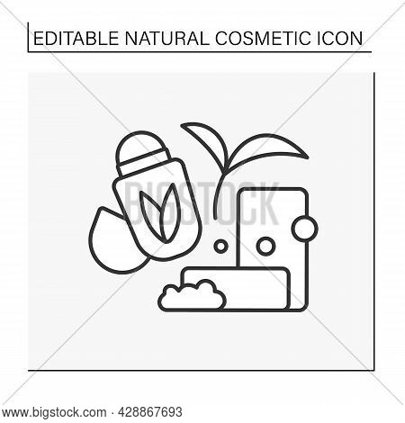 Cosmetology Line Icon. Organic Soap And Deodorant. Beauty Procedure.natural Cosmetic Concept. Isolat