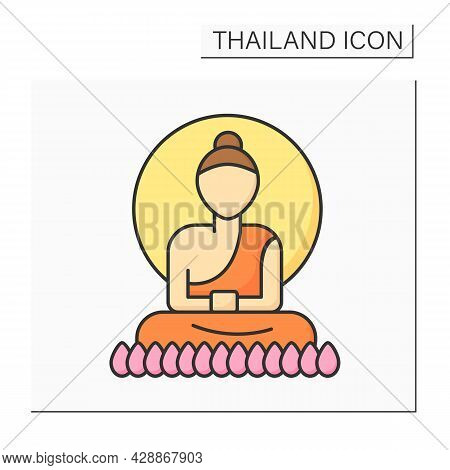 Buddha Color Icon. Buddha Statues In Monasteries. Style Of Sculpture For Buddhism Beliefs. Thailand