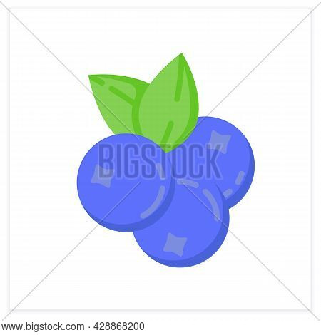 Blueberries Flat Icon. Superfood. Organic Healthy Energetic Food For Balanced Nutrition. Detox And W