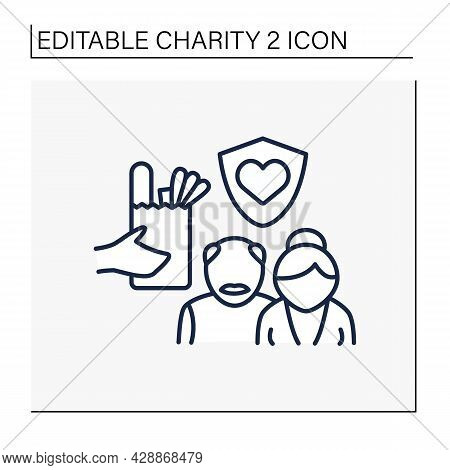Old People Line Icon. Senior Citizens Charities. Help And Support For Seniors. Money, Food And Servi