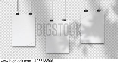Abstract Poster Design With Hanging Papers. Hanging A4paper Poster Mockup.