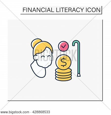 Savings Color Icon. Investing And Planning For Retirement. Pension Fund. Accumulate Money For Better