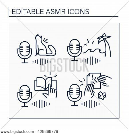 Asmr Line Icons Set. Cat Purring, Page-turning, Ocean Waves Sounds.modern Trends. Internet Trend Con