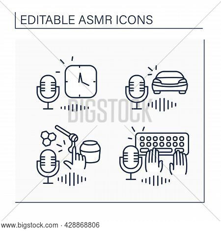 Asmr Line Icons Set. Typing On Keyboards, Honey Eating, Car Driving And Clock Sounds.modern Trends.