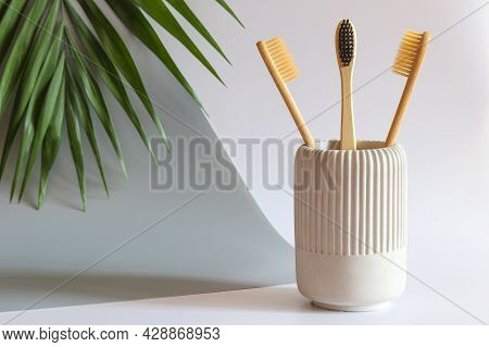 Eco-friendly Bamboo Toothbrushes. Oral Hygiene And Zero Waste Concept. Morning Routine. Selective Fo