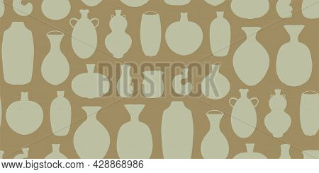 Seamless Pattern With Set Of Abstract Ceramic Vase Shapes. Various Pottery Ceramic Jugs Backdrop In