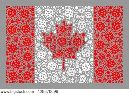 Mosaic Canada Flag Created Of Cell Elements. Canada Flag Collage Is Done Of Scattered Covid Elements