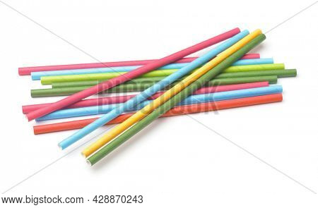 Group of paper colorful drinking straws isolated on white