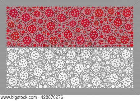 Mosaic Indonesia Flag Created Of Covid-2019 Items. Indonesia Flag Collage Is Formed Of Scattered Cov