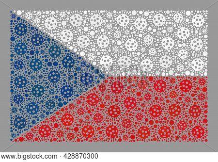 Mosaic Czech Flag Designed Of Virulent Items. Czech Flag Collage Is Designed Of Random Viral Element
