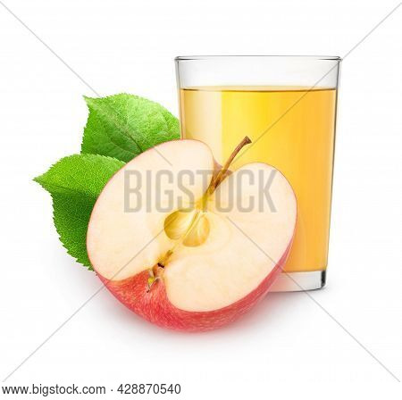 Isolated Apple Juice. Glass Of Fresh Apple Juice And Half Of Fruit Isolated On White Background With