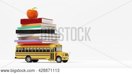 Back to school. Yellow school bus toy with books and apple isolated on white. 3D render