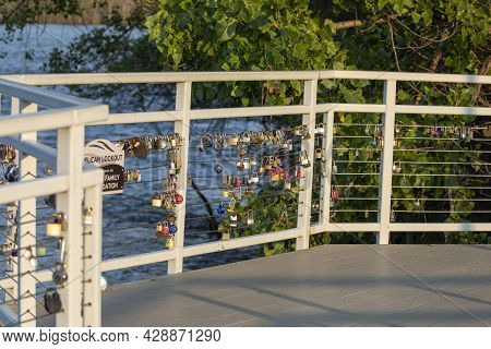 De Pere Wi Usa Jun 26 2021: Locks On The Bridge As A Symbol Of Love And Fidelity