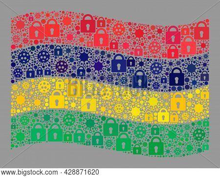 Mosaic Covid Lockdown Waving Mauritius Flag Constructed Of Locks And Contagious Icons. Vector Mosaic