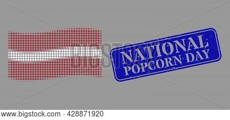 Dotted Halftone Waving Latvia Flag Icon, And National Popcorn Day Dirty Rectangle Seal Print. Vector