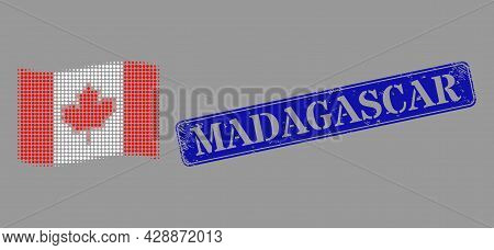Pixel Halftone Waving Canada Flag Icon, And Madagascar Dirty Rectangle Watermark. Vector Halftone Co