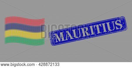 Dotted Halftone Waving Mauritius Flag Icon, And Mauritius Rubber Rectangle Stamp Seal. Vector Halfto