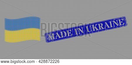 Dotted Halftone Waving Ukraine Flag Icon, And Made In Ukraine Unclean Rectangle Stamp Seal. Vector H