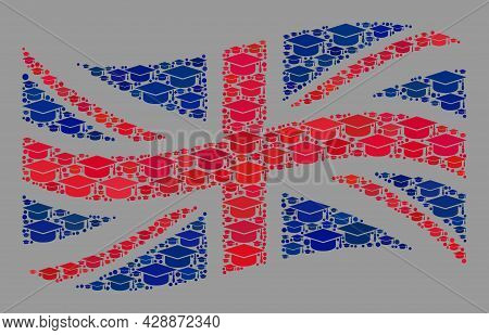 Mosaic Waving Great Britain Flag Designed Of Master Cap Icons. School Vector Collage Waving Great Br
