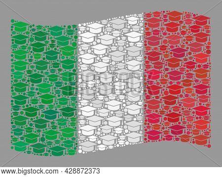 Mosaic Waving Italy Flag Designed With Professor Cap Elements. University Vector Mosaic Windy Italy