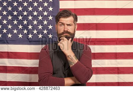 Cultural Identity. American Man Celebrate Holiday. Promoting American Values. Celebration Of Freedom