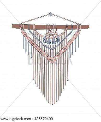 Macrame. Cord Panel, Wall With Fringe. Stylish Interior Decor With Your Own Hands. Handmade Wickerwo