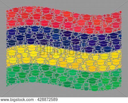 Mosaic Waving Mauritius Flag Created Of Professor Hat Items. School Vector Mosaic Windy Mauritius Fl