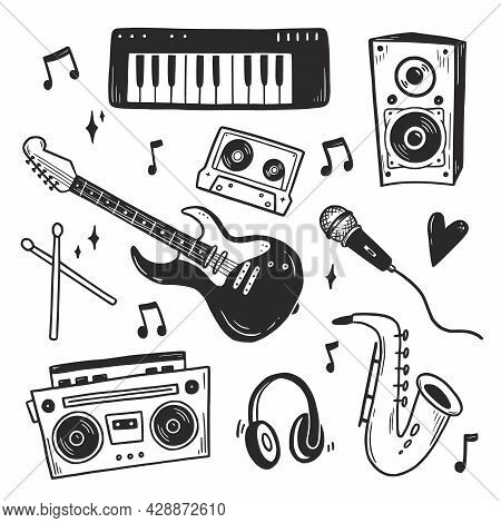 Music Doodle Hand Drawn Set, Boombox, Guitar, Microphone. Doodle Sketch Style. Drawing Line Simple M