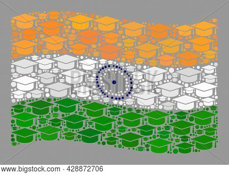 Mosaic Waving India Flag Constructed Of Graduation Hat Items. Graduation Vector Collage Windy India