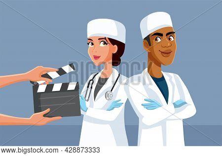 Actors Wearing Scrubs Filming Medical Tv Show
