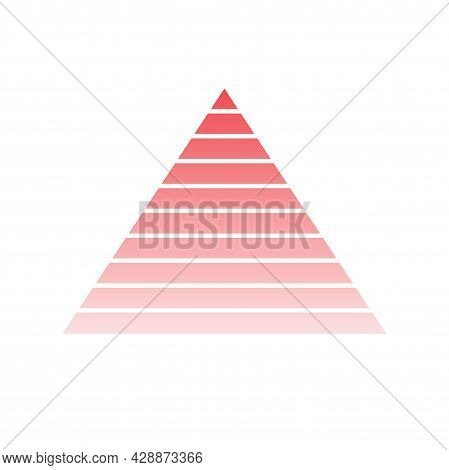 Pyramid Scheme 10 Ten Steps. Vector Hierarchy Level Chart Graph, Red Diagram Structure. Triangle Inf