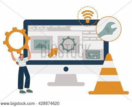Web Design, Programming And Coding Idea. Remote Job, Freelancer Cartoon Character. Website Maintenan