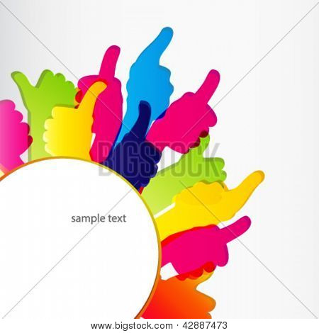 Thumbs Up symbol. Abstract background.  Vector illustration.