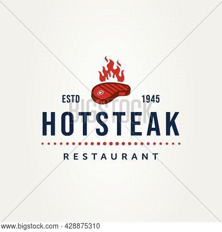 Vintage Steak House Restaurant With Burnt Meat Badge Logo Template Vector Illustration Design. Class