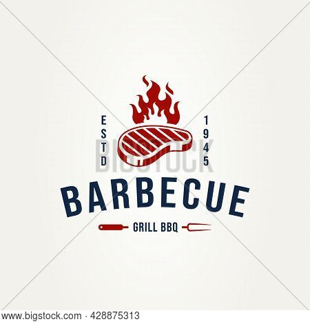 Vintage Barbecue Steak Logo With Fork And Burnt Meat Badge Logo Template Vector Illustration Design.