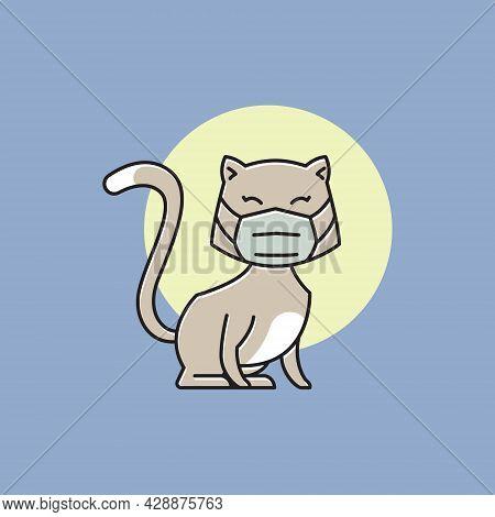Cute Cat Kitten Face Mask Health Protocol Campaign Flat Cartoon
