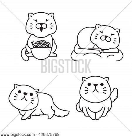 Cute Fat Cat Eating Sleeping Outline Monoline Line Doodle Style Illustration